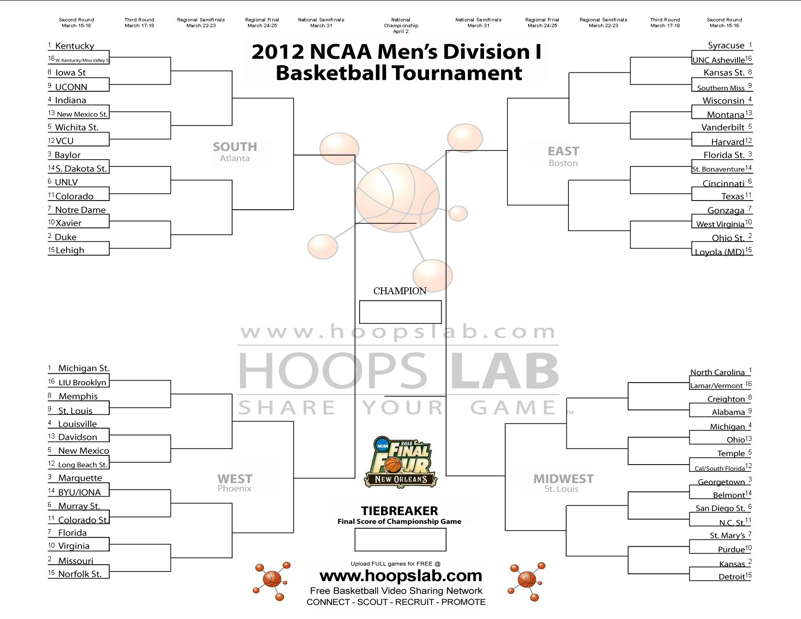 2012 Printable NCAA March Madness Tournament Bracket for Division I ...